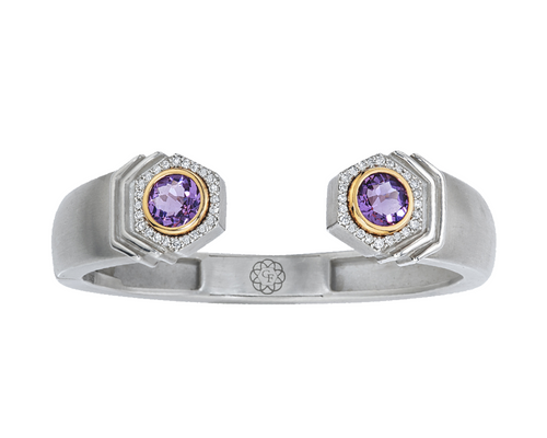 Bianca Hinged Cuff in Amethyst