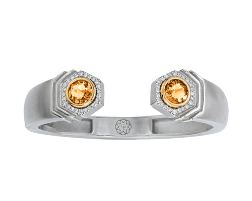 Bianca Hinged Cuff with Citrine