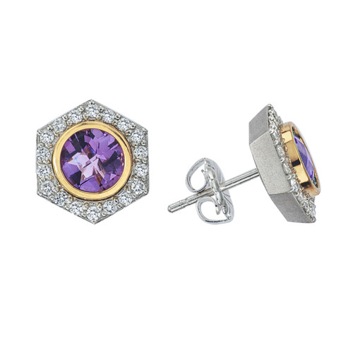 Bianca Stud Earring with Amethyst