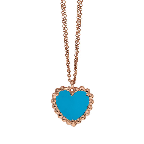 Beaded Heart Pendant with Turquoise