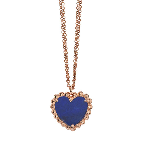 Beaded Hearty pendant with Lapis Lazuli