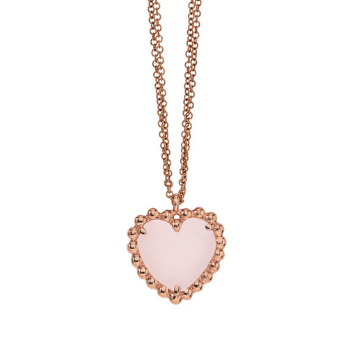 Beaded Heart Pendant with Pink Opal