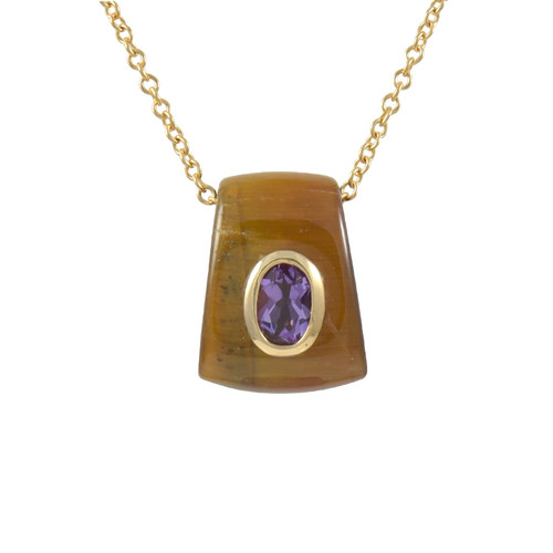 Tiger Eye and Amethyst Pendant