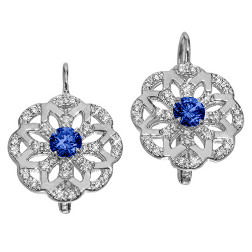 Sophia Flower Earrings with Sapphires