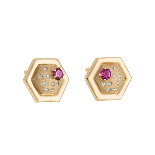 Favo Stud Earrings with Rhodolite Garnet and Diamonds