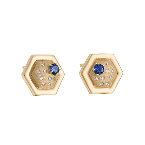 Favo Stud Earrings with Blue Sapphire and Diamonds