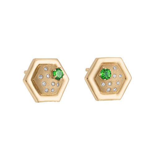 Favo Stud Earrings with Tsavorite Garnet