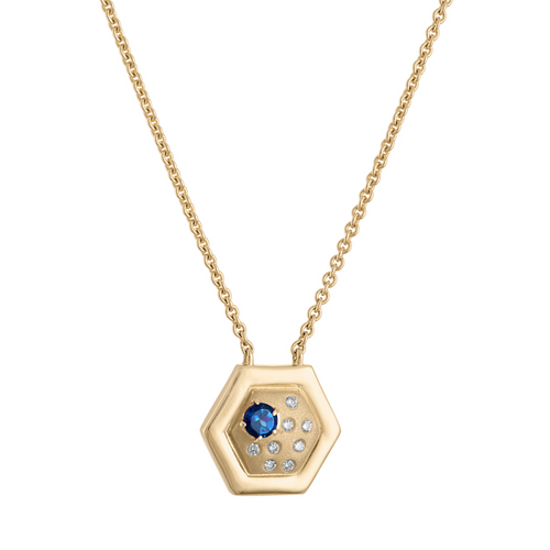 Favo Pendant with Blue Sapphire and Diamonds