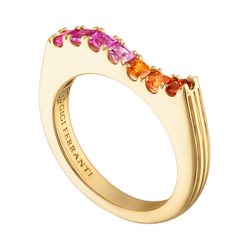 Portofino Wave Ring with Orange and Pink Sapphires