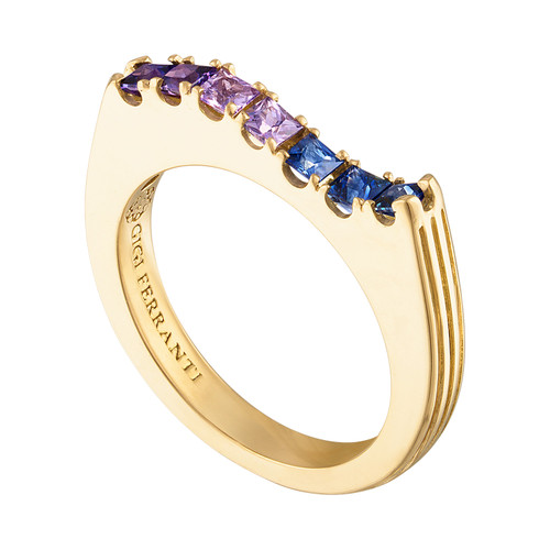 Portofino Wave Ring with Cool Sapphire Hues