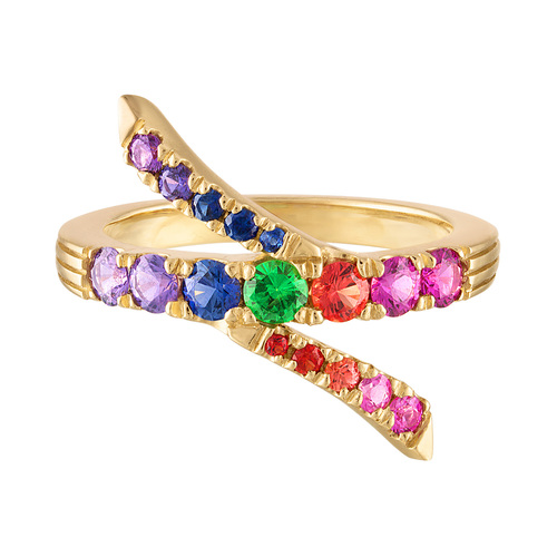 Portofino Sapphire and Garnet Twist Ring