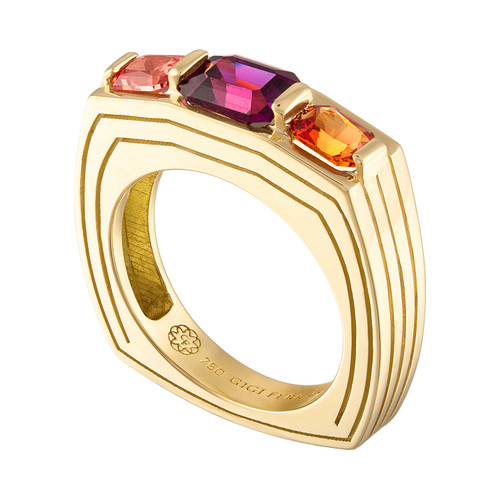 Portofino 3 Stone Ring with Grape Garnet and Orange Sapphire