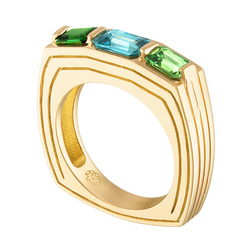 Portofino 3 Stone Ring with Blue Zircon and Tsavorite Garnet