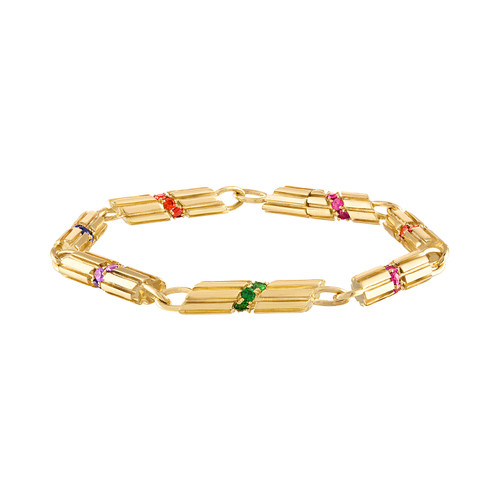 Portofino Link Bracelet with Sapphires and Tsavorite Garnet