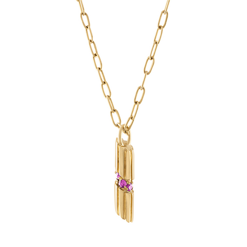 Portofino Penne Charm with Pink Sapphire