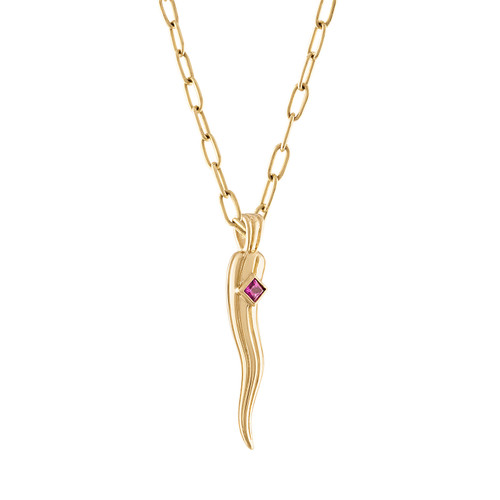 Portofino Horn Charm Pink Sapphire with Chain