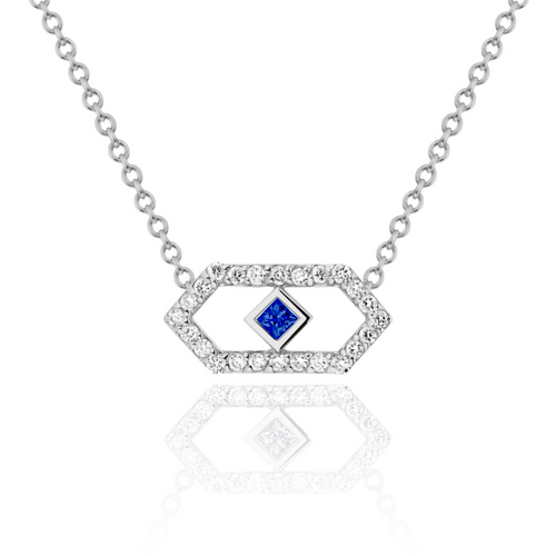 Gianna Petite Chevron Pendant with Diamonds and Blue Sapphire