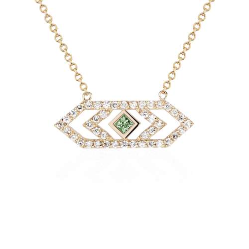 Gianna Medium Chevron Pendant with Green Sapphire