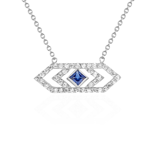 Gianna Medium Chevron Pendant with Blue Sapphire
