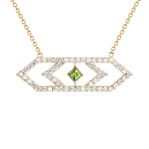 Gianna  Large Chevron Pendant with Green Sapphire