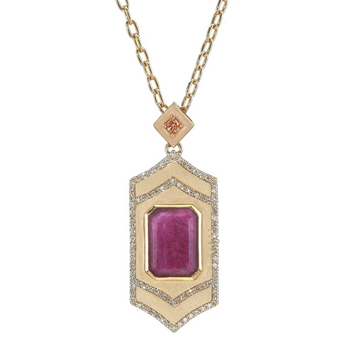 Gianna Locket and Mirror Compact with Pink Sapphire