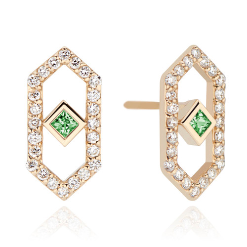 Gianna Chevron Studs with Green Sapphire