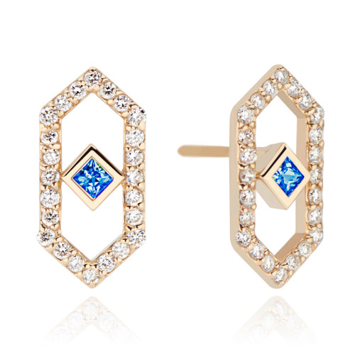 Gianna Chevron Stud Earring with Blue Sapphire
