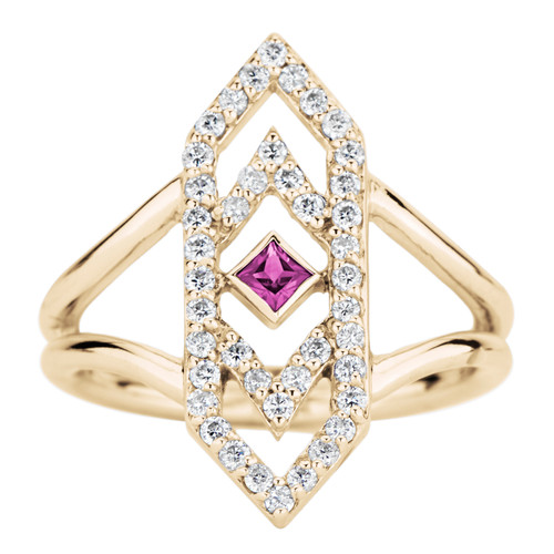 Gianna Chevron Ring with Pink Sapphire and Diamonds