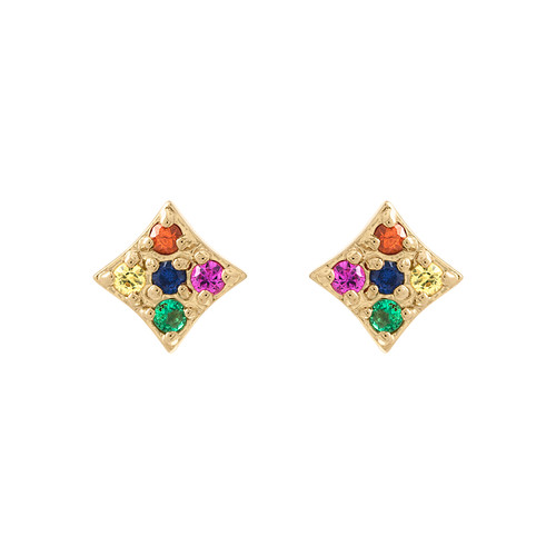 Gianna mini stud earrings in rainbow