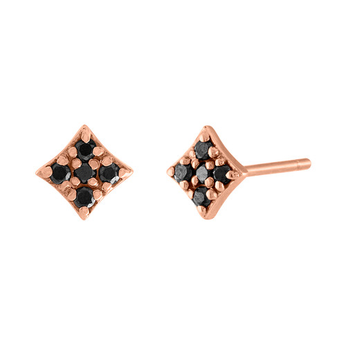 Gianna Mini Stud with Black Diamonds in Rose Gold