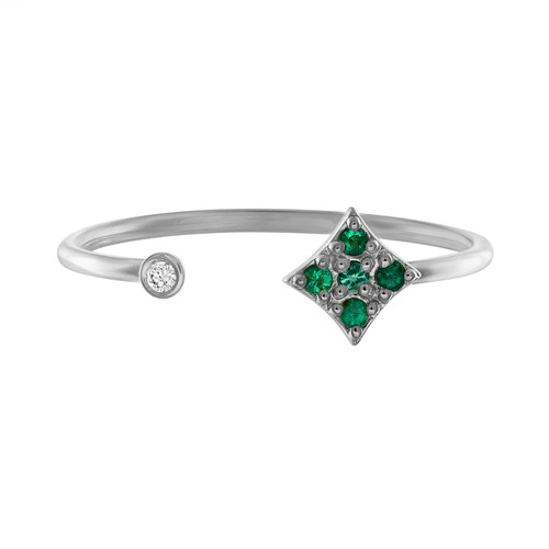 Gianna  Open Stacking Ring with Emeralds