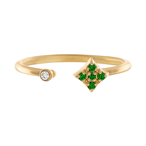 Essentials Open Ring with Emeralds