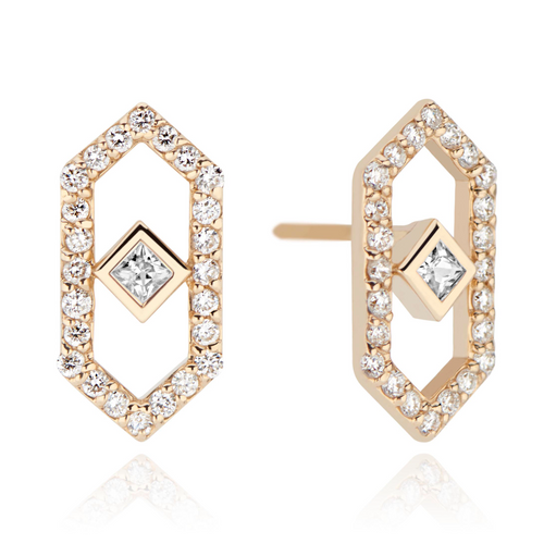 Gianna Diamond  Chevron Stud Earring