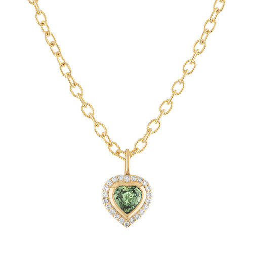 Limited Edition Green Sapphire Puffed Heart Pendant