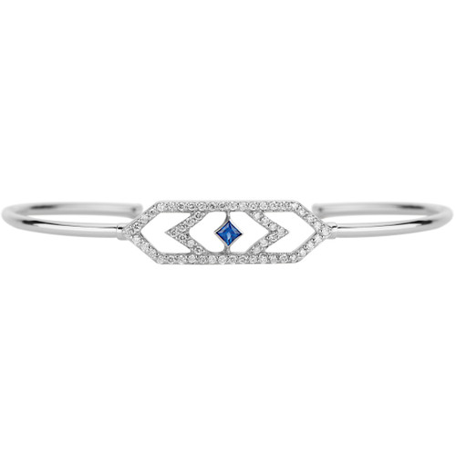 Gianna Chevron cuff with Diamonds and Blue Sapphire