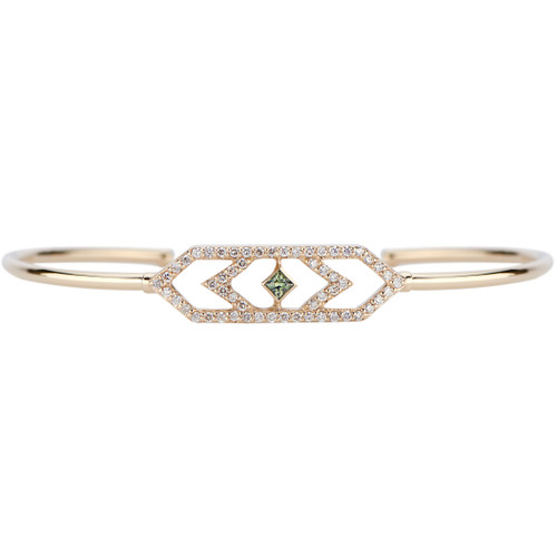 Gianna  Chevron Cuff with Diamonds and Green Sapphire