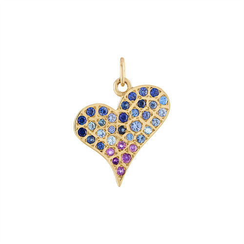 Grafitto Heart Charm with blue and purple