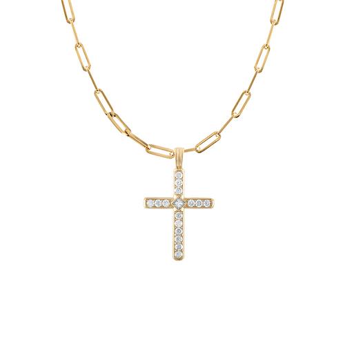 Portofino Diamond Cross on Paperclip Chain