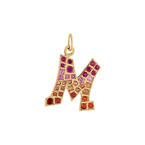 Graffito Initials with pink and orange sapphires