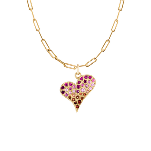 Graffito Heart with pink and orange sapphires