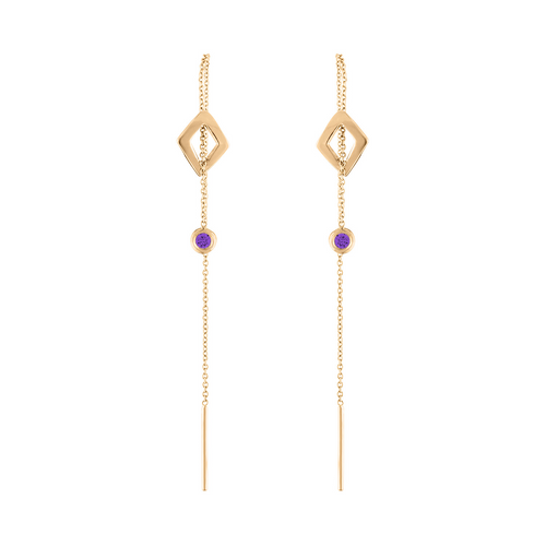 Lucia Threader Earrings with Purple Sapphire
