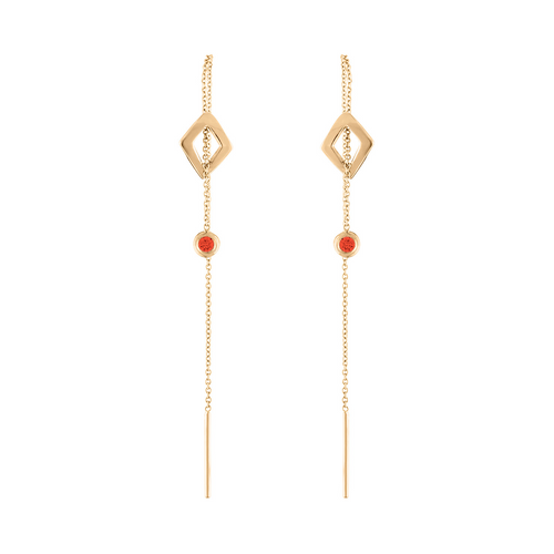 Lucia Threader Earrings with Orange Sapphire