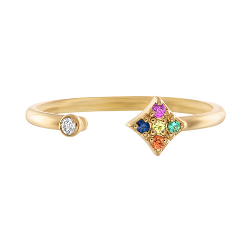 Gianna Open Ring with Sapphire, emerald and diamond