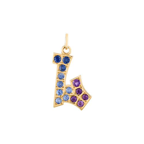 Graffito Initial L Charm with Sapphire and Amethyst