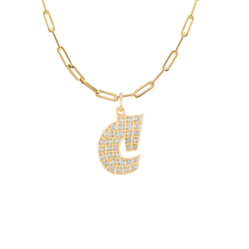 Graffito Initial C Charm with Diamonds