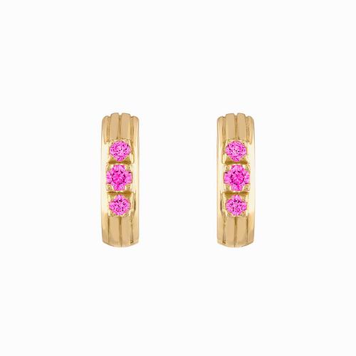 Portofino Huggie Pink Sapphire Earrings
