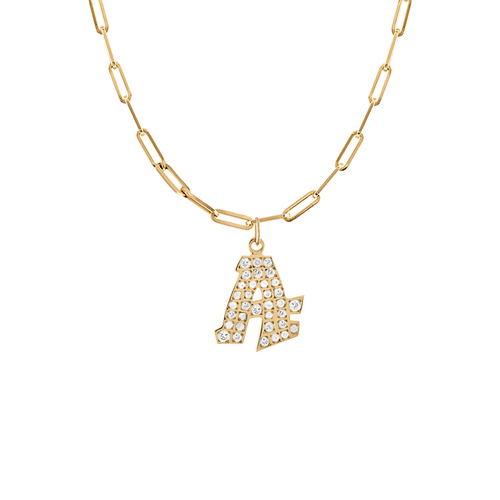 Graffito Initial A Charm with Diamonds