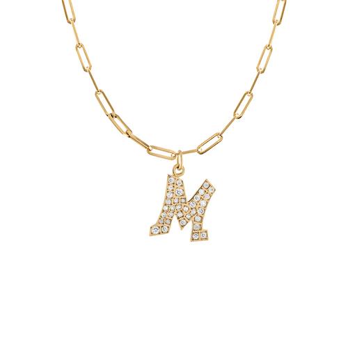 Graffito Initial M Charm with Diamonds