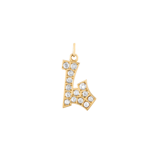 Graffito Initial L Charm with Diamonds