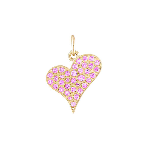 Graffito Heart Charm with Pink Sapphire